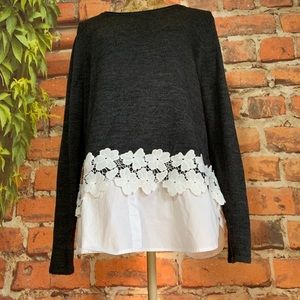 Sweater Top Lower Faux Blouse Lace Embellished XL